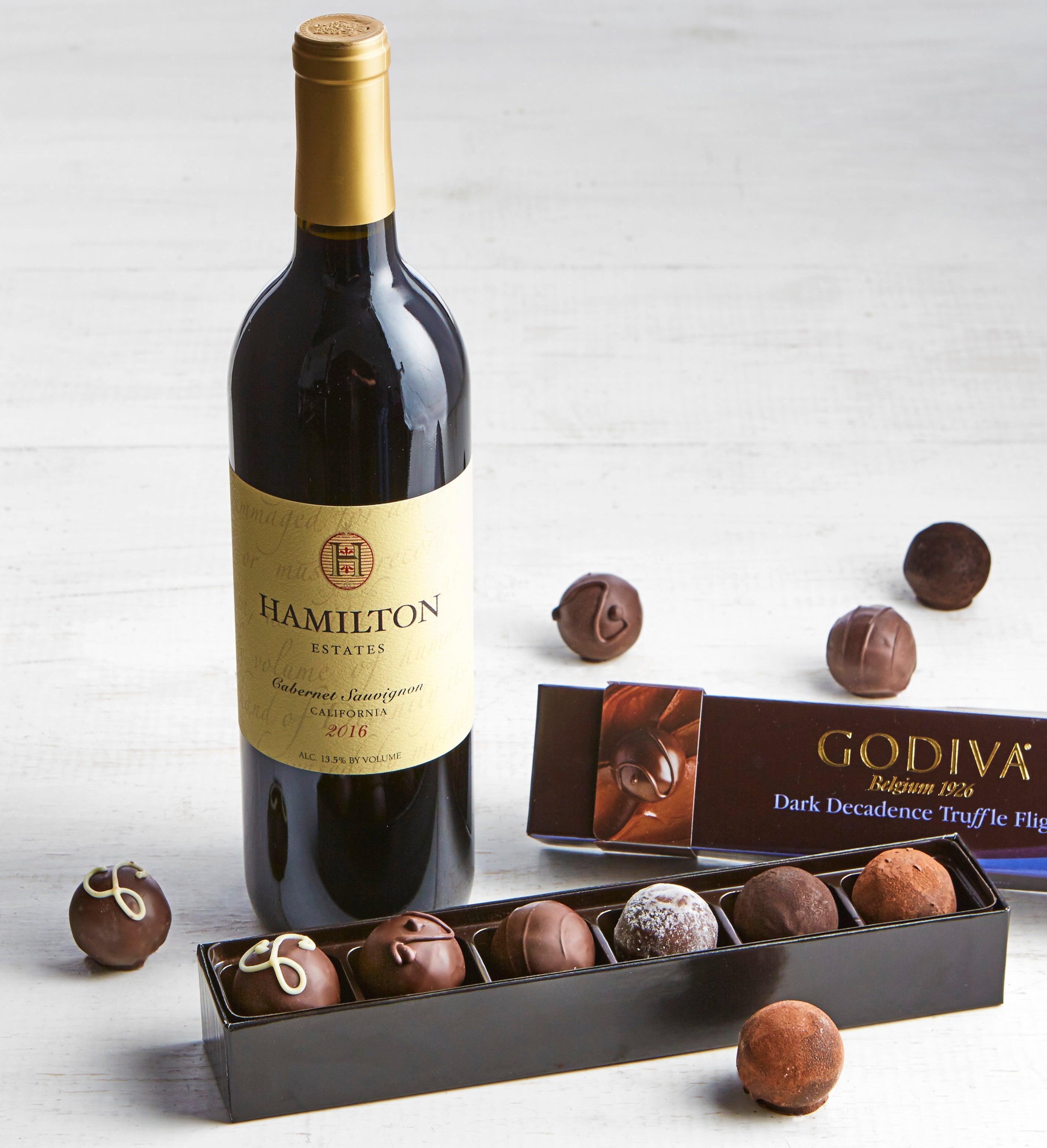 Godiva Dark Decadence Truffle Flight Box & Wine